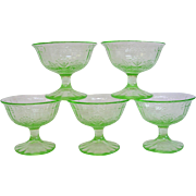 Green Depression Glass Sherbets Single Rose Design