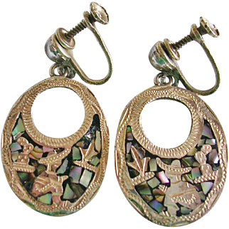 Signed Sterling Mexico Abalone Siesta Man Earrings