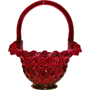 Fenton Ruby Red Diamond Fan Ruffled Basket