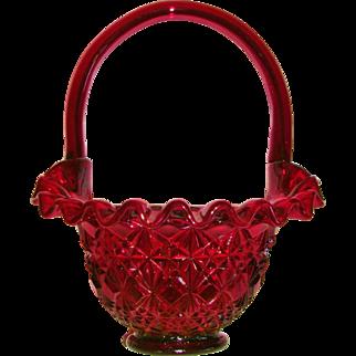 Fenton Ruby Red Diamond Fan Ruffled Basket