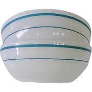 Pyrex Milk Glass Tableware Turquoise Band Cereal Bowls