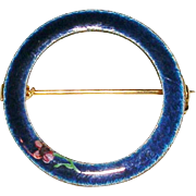 Gold Tone Enamel and Rose Eternity Circle Pin