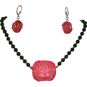 Lovely Black Onyx and Carved Red Coral Rose Necklace and Earrings
