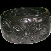 Dark Chocolate Carved Bakelite Floral Design Wide Bangle