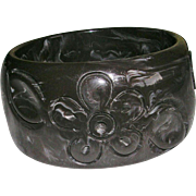 Dark Chocolate Carved Bakelite Floral Design Wide Bangle
