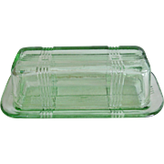 Hazel Atlas Criss Cross Green Glass Butter Dish