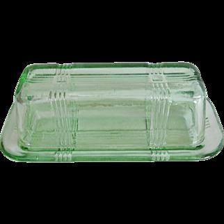 Hazel Atlas Criss Cross Green Glass Butter Dish