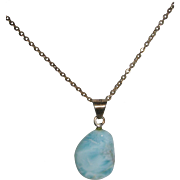 Polished Larimar Sterling Silver Necklace