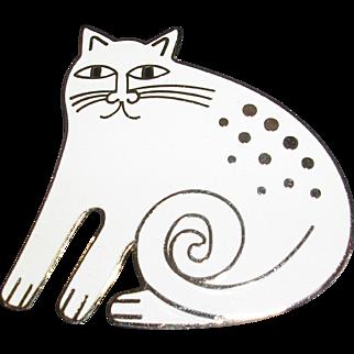 Vintage Laurel Burch 'Keshire Cat' Enamel and Gold Tone Pin