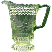 Antique Adams and Co. Vaseline Glass Pitcher Wildflower Pattern