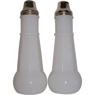 Rare Milk Glass Salt and Pepper
