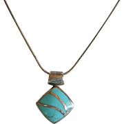 Sterling Silver Inlaid Turquoise Necklace