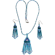 Native American Style Turquoise Seed Bead Necklace and Earrings