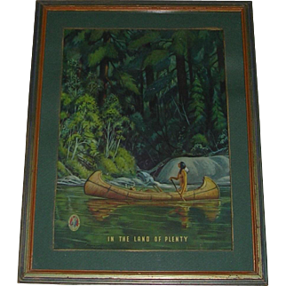 1940's Richard Fayerweather Babcock  (1887 - 1954) Native American Mosinee Paper Mills Framed Print