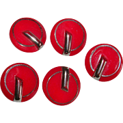 Art Deco Red Glass Buttons