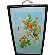 Intricate Chinese 3D Carved Jade Shell Shadowbox Art with Birds Flowers