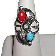 Vintage Native American Coral And Turquoise Ring