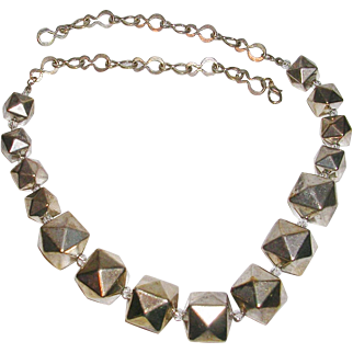 """Unusual Polyhedron Bead and Chain Link 21"""" Necklace"""