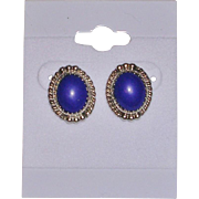 Navajo Signed Sterling Silver and Lapis Earrings