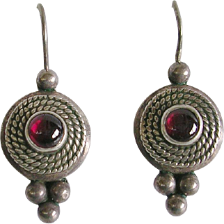 Hand Crafted Sterling Silver and Garnet Earrings