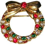 Pretty Cross Over Wreath Christmas Pin