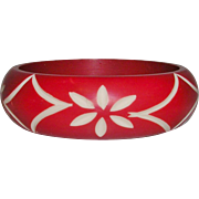 Vintage Carved Celluloid Bangle Bracelet