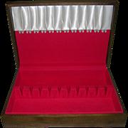 Vintage Wood Anti Tarnish Silver Storage Chest