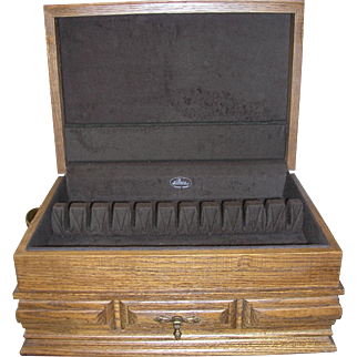 Large Oak Silver Storage Chest with Drawer