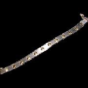 Italian Sterling Silver  2 Tone Link Bracelet Milor