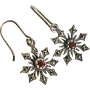 Sterling Silver Snowflake with Marcasite and Garnet