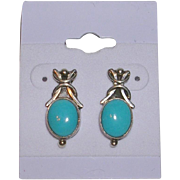 Stylized Sterling Silver and Turquoise Earrings