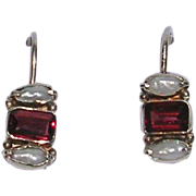 Petite Sterling Silver Garnet and Freshwater Pearl Earrings
