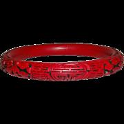 Red and Black Cinnabar Resin Bangle Bracelet