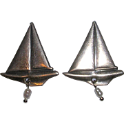 Sterling Silver Sailboat and Pearl Earrings