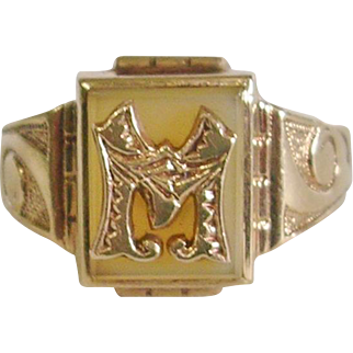 10K Yellow Gold Agate Signet Ring Initial M