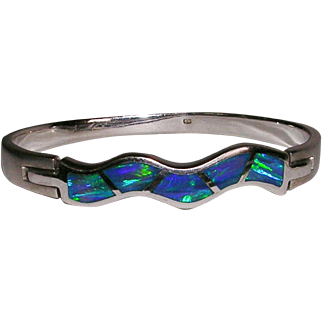Sterling Silver Hinged Bracelet Simulated Opal