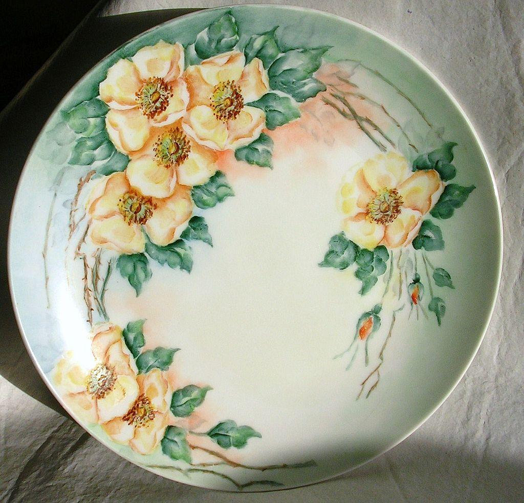 Beautiful Vintage Hand Painted Plate Roses 1952 From