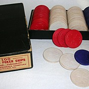 Vintage Hardwood Poker Chips by Thesco/Kirby Cogeshall Original Box