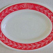 Retro Milk Glass Fire King Red & White Restaurant Ware Serving Platter