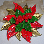 Vintage Celluloid Holiday Poinsettia Pin/Brooch