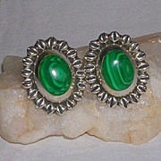 Signed Taxco Malachite and Sterling Silver Earrings