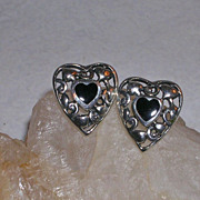 Sterling Silver Filigree and Black Onyx Heart Pierced Earrings