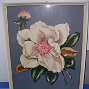1940's Framed Airbrush Art Print Peony-One of 2