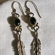 Sterling Silver and Onyx Diamond Cut Feather Design Earrings