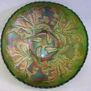 Fenton Carnival Glass Green Thistle Scalloped Bowl