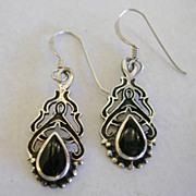 Vintage Art Nouveau Design Onyx Earrings