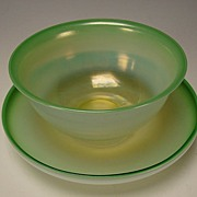Art Nouveau Opalescent Iridescent LCT Tiffany Pastel Green Bowl and Plate