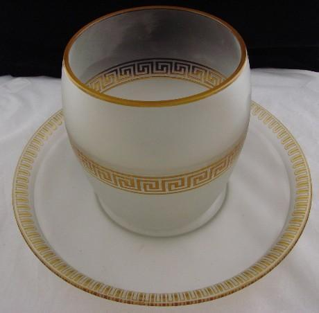 Antique Pairpoint/Mt Washington Cameo Greek Key Glass Centerpiece or Vase & Tray
