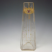 "RARE Secessionist Bohemian Riedel Poschinger Jeweled 15"" Triangular Glass Vase"