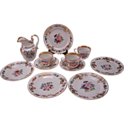 Antique Old Paris French Porcelain Set Plates Jug Cup/Saucer c1840 11pc Set